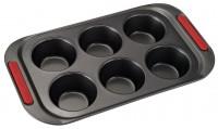 Форма для выпечки металл (противень) для 6 кексов с ручками 5,5х3 см