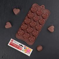 """Форма для шоколада и льда силикон """"Клумба роз"""" 15 ячеек 21х11 см"""
