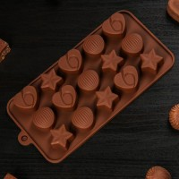 "Форма для шоколада и льда силикон ""Звезды, ракушки, сердца"" 15 ячеек 20,6х10,3х1 см"