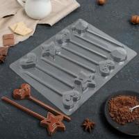 """Форма для шоколада пластик """"Развлечения"""" 8 ячеек 24х18,5 см"""
