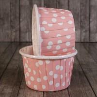 Капсула для маффинов розовая в горох с ламинацией 50/40 (1шт)
