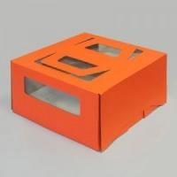 Коробка 300/300/170мм с ручкой и окном (оранжевая)