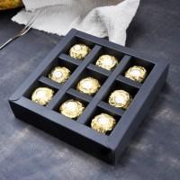 Коробка для конфет на 9шт с пластиковой крышкой (черная) 155/155/30мм