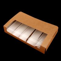 Коробка для эклеров и эскимо с пластиковой крышкой (крафт) 250/150/50 мм