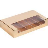 Коробка для эклеров и эскимо с пластиковой крышкой (золото) 250/150/50 мм