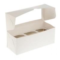 Коробка для капкейков на 3 шт (с квадратным окном) 250/100/100 мм