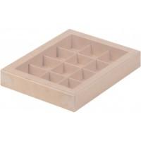 Коробка для конфет на 12шт с пластиковой крышкой (крафт) 190/150/30мм