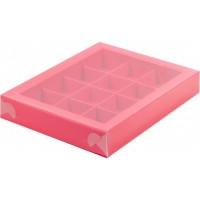 Коробка для конфет на 12шт с пластиковой крышкой (красная) 190/150/30мм