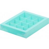 Коробка для конфет на 12шт с пластиковой крышкой (тиффани) 190/150/30мм