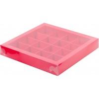 Коробка для конфет на 16шт с пластиковой крышкой (красная) 200/200/30мм