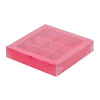 Коробка для конфет на 9шт с пластиковой крышкой (красная) 155/155/30мм