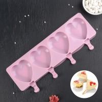 """Форма для мороженого силикон """"Сердца"""" 4 ячейки 9,2х8,4 см"""