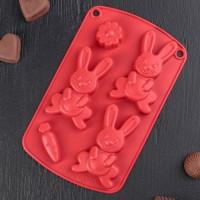 """Форма для шоколада и льда силикон """"Пасхальный кролик"""" 5 ячеек 21х13х2 см"""