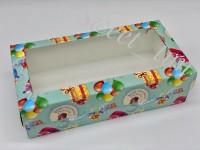 Коробка для макарон с окном (мятная-сладких удовольствий) 210/110/55 мм
