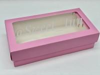 Коробка для макарон с окном (розовая) 210/110/55 мм