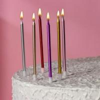 """Свечи в торт """"С Днем Рождения, Вечеринка"""" высокие, металлик 14 см (6 шт)"""