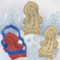 "Форма/вырубка + Штамп пластик ""Снегурочка № 2"" 11 см"
