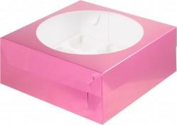 Коробка для капкейков на 9шт с окном (фуксия) 235/235/100мм