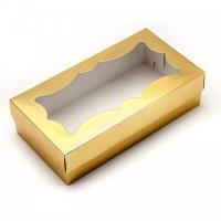 Коробка для макарон с фигурным окном (золото) 210/110/55мм