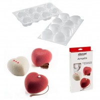 """Форма для выпечки силикон SilikoMart""""Сердце мини+вырубка"""" 6х3,5 см"""