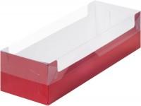 Коробка для рулета с пластиковой крышкой (красная) 300/110/80мм