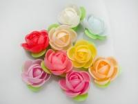 Вафельные цветы пионы на трилистнике 2,4 см микс 10 шт