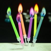 """Свечи в торт  с цветным пламенем """"С днем рождения"""" 75,х13 см 6 шт"""