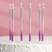 """Свечи в торт """" С днем рождения """" высокие, фиолетовый, розовый, серебро (6 шт)"""