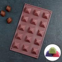 """Форма для шоколада и льда силикон """"Пирамидки"""" 15 ячеек 20,5*10,5 см"""