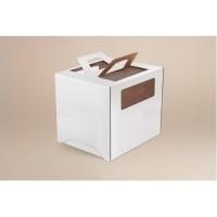 Коробка 220/220/240мм (под топперы) ручка/белая