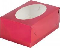Коробка для капкейков на 6шт с окном (красная) 235/160/100мм