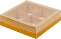 Коробка под ассорти сладостей с пластиковой крышкой (золото матовая) 200/200/55 мм