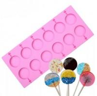 """Форма для шоколада и леденцов силикон """"Диск"""" 12 ячеек 11,5х26,5 см"""