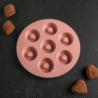 """Форма для шоколада и льда силикон """"Пончики"""" 7 ячеек 15,5х1,3 см"""