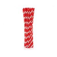 Коктейльные трубочки бумажные 20см красные в горох (25шт)