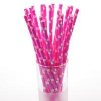 Коктейльные трубочки бумажные 20см розовые в горох (25шт)