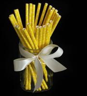 Коктейльные трубочки бумажные 20см желтые в горох (25шт)