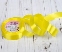 Атласная лента (желтая) 25мм/23-24м