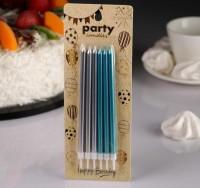 """Свечи в торт """"С днем рождения"""" высокие, Серебро+голубые (6 шт)"""