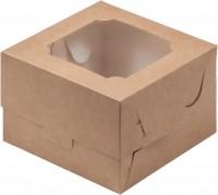 Коробка для бенто-торта 120/120/80 мм (с окном) крафт