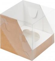 Коробка для капкейков на 1шт с пластиковой крышкой (крафт) 100/100/100мм