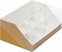 Коробка для капкейков на 6шт ПРЕМИУМ с пластиковой крышкой (крафт) 235/160/100мм
