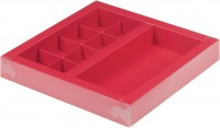 Коробка для конфет на 8шт с вклеенным окном (красная) 200/200/30мм + шоколад. плитки 160/80 мм