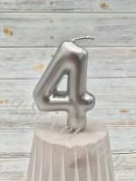 """Свеча Серебро цифра """"4"""""""