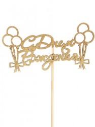 """Топпер """"С Днем Рождения, с шариками и бантиками"""" на подвесе, золотой Дарим красиво"""