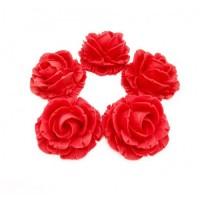 Сахарные цветы розы (красные) 1шт 35мм