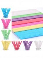 Палочки для кейк-попсов бумажные 15см розовые (50шт)