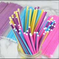Палочки для кейк-попсов бумажные 20см фиолетовые (50шт)