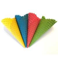 Вафельный рожок 185мм естественный край (цветное ассорти) 4шт