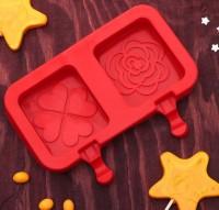 """Форма для мороженого силикон """"Сердце и роза"""" 2 ячейки 19,5х14,5х2,5 см"""